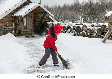 little girl with a broom