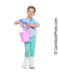 little girl with a bucket