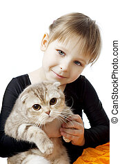 Little girl with a cat on a white background