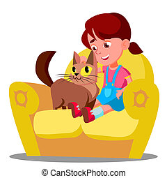 Little Girl With A Cat Sitting On The Sofa Vector. Isolated Illustration