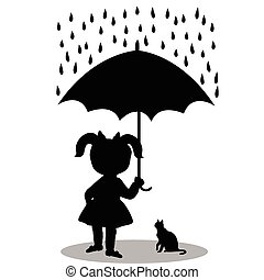 Little girl with a cat under an umbrella