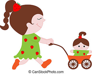 little girl with a doll in the stroller