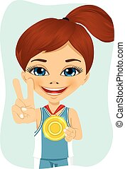 Little girl with a first place medal - Little cute girl with...