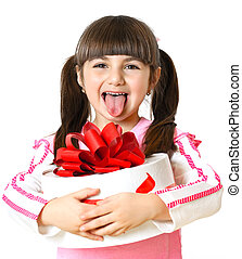 little girl with a gift on a white background