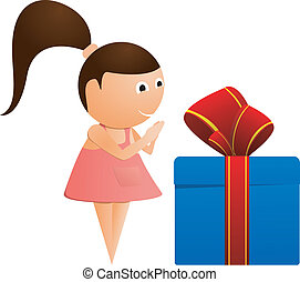 Little girl with a gift. vector