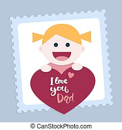 Little girl with a heart and a message that says I love you dad