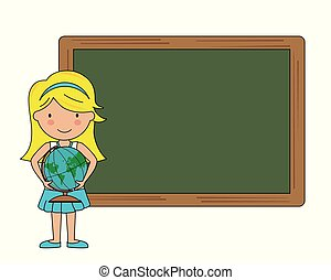 Little girl with a map and a blackboard in the background