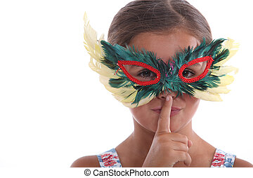 little girl with a mask