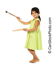 Little girl with a paintbrush
