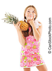Little girl with a pineapple
