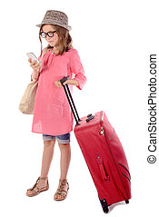 little girl with a red suitcase talking on phone