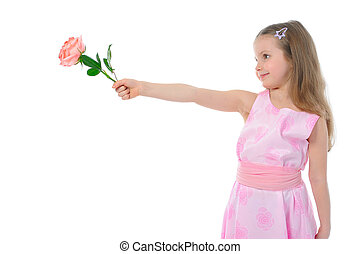 little girl with a rose.