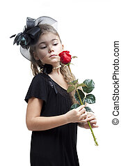 Little girl with a rose