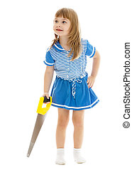 Little girl with a saw.