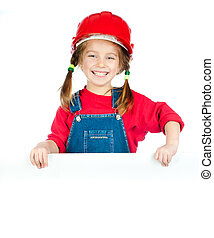 little girl with a white board - smiling girl in the...