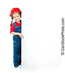 little girl with a white board - cute little girl in the...