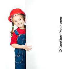 little girl with a white board - smiling little girl in the...