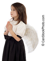 Little girl with angel wings, isolated on white