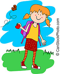 Little girl with backpack and apple