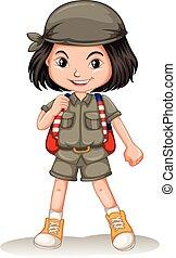 Little girl with backpack illustration