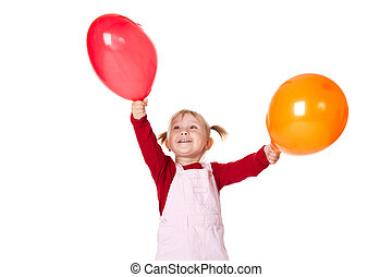 little girl with ballons