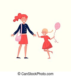 Little girl with balloon in hand running towards her mom. Cheerful mother with wide-open arms. Kid with happy face. Flat vector design