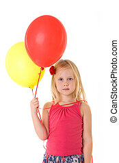 Little girl with baloons isolated on white