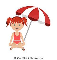 little girl with beach umbrella