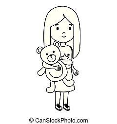 little girl with bear teddy character