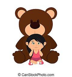 little girl with bear teddy