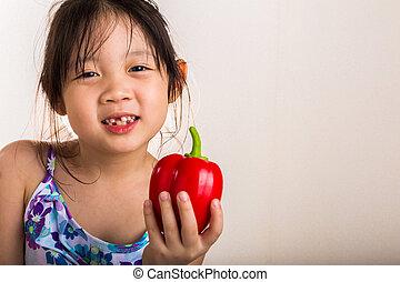 Little Girl with Bell Pepper