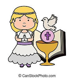 little girl with bible and chalice first communion