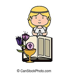 little girl with bible and flowers first communion