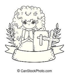 little girl with bible in first communion celebration