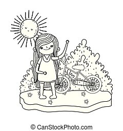 little girl with bicycle in the landscape