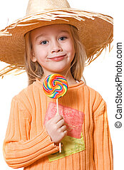 Little girl with big candy
