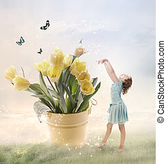 Little Girl with Big Flowers