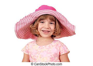 little girl with big hat portrait