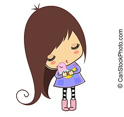 Little girl with bird