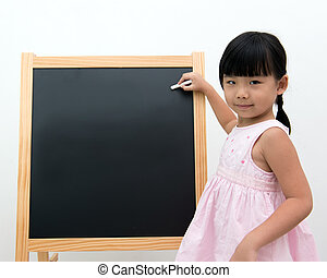 Little girl with black board