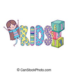 little girl with blocks of numbers toy