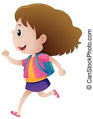 Little girl with blue backpack running