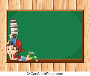 Little girl with books and blackboard