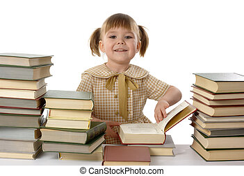 Little girl with books, back to school