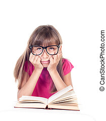 little girl with books wearing glasses