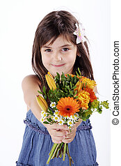 little girl with bouquet