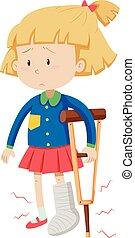 Little girl with broken leg
