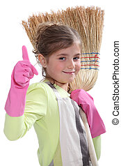 Little girl with broom