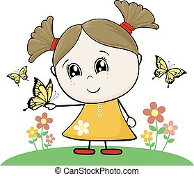 little girl with butterfly