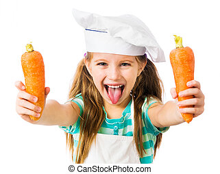 little girl with carrot